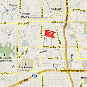 map of dallas tx usa near I-635 and Dallas North Tollway